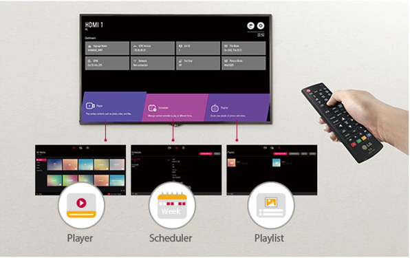 LG displays showing player, scheduler and playlist functions