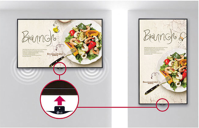 LG commercial display showing a restaurant ad in both a horizontal position and then a vertical position