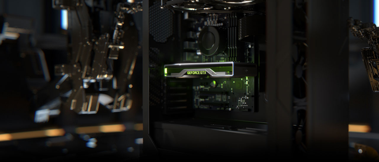 Side view of a gaming desktop, highlighting a GeForce GTX graphics card in the center, with the GeForce GTX logo illuminated