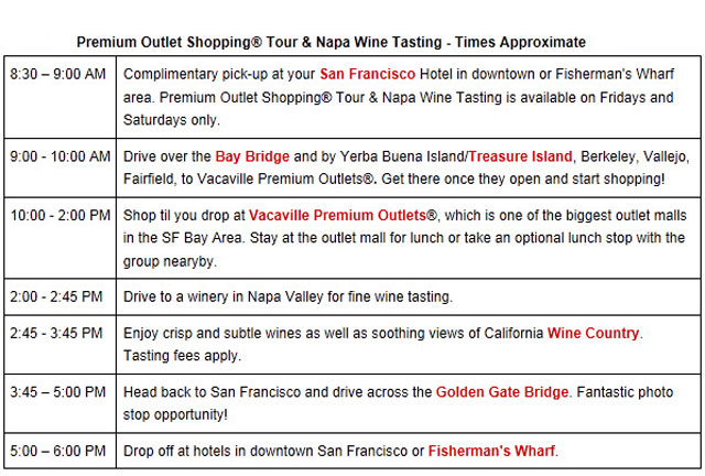 San Francisco Premium Outlet Shopping Napa Wine Tasting Tour E - Free download of invoice template gucci outlet store online