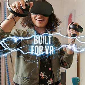 A Woman with a VR Headset and Controllers, Smiling and Playing