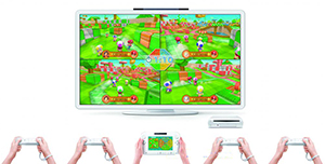 Using Wii Remote controllers and Wii U GamePad for up to 5-player gameplay