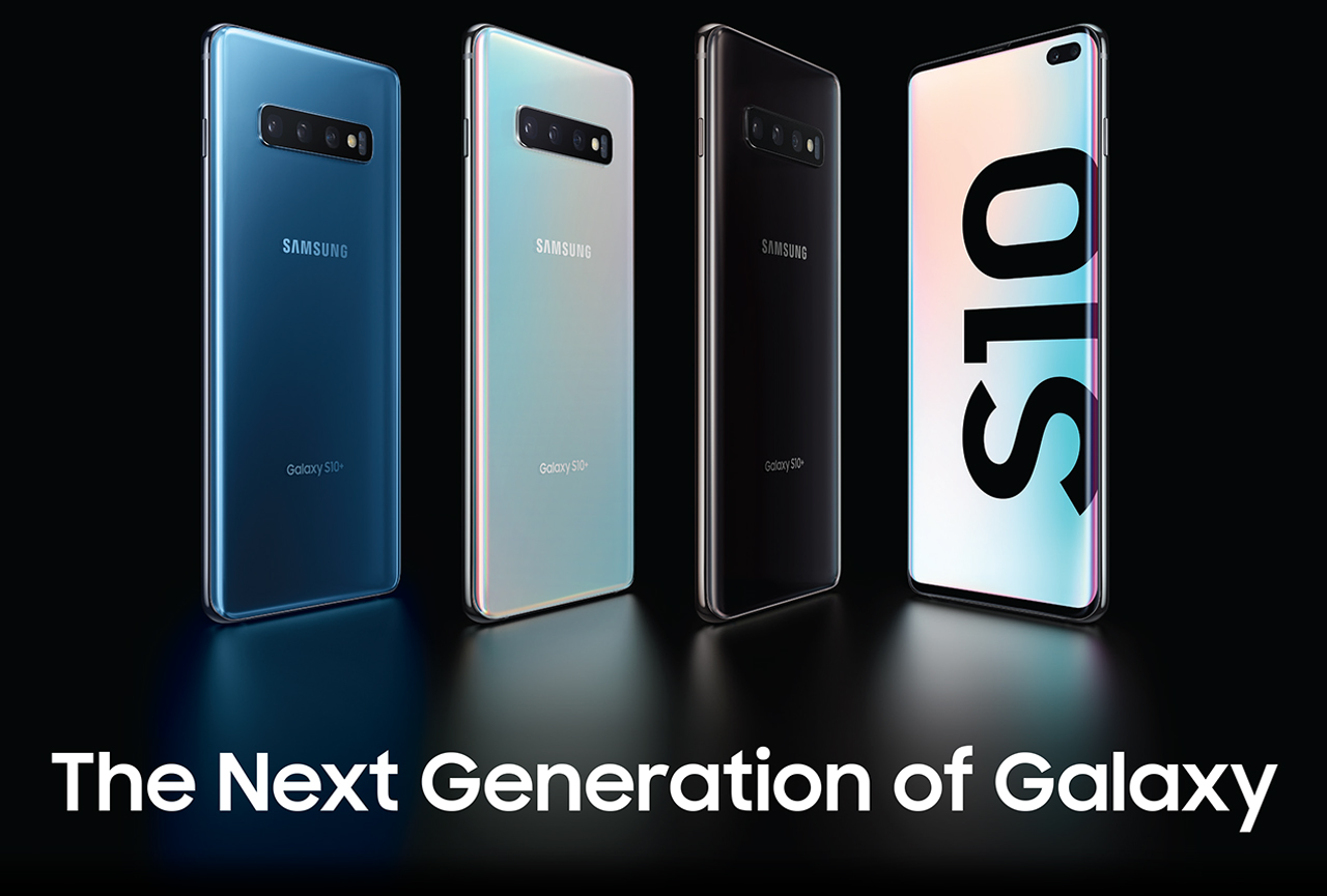 Four Samsung Galaxy S10s, three facing away to the left showing their blue, silver and black colors. The fourth phone is facing forward with S10 text sideways on its screen. There is also text that reads: The Next Generation of Galaxy