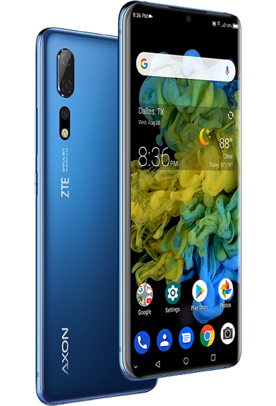 Two Axon 10 Pro Cellphones Views Angled Slightly to Right: Front and Back.