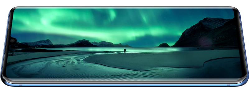 AMOLED Display Shows Aurora Landscape Wallpaper