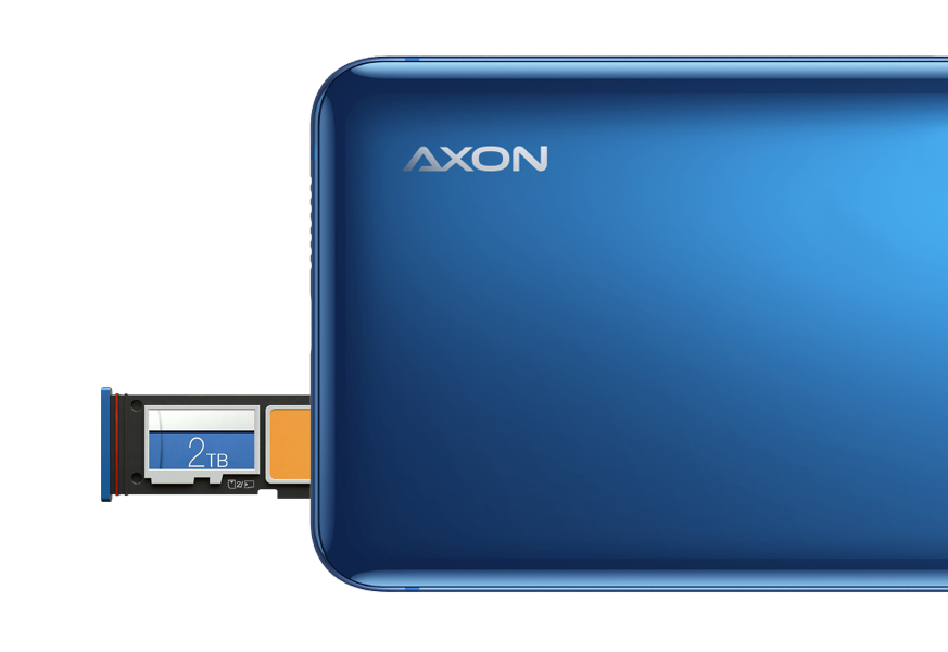 The Storage and Sim Card Tray on ZTE Axon 10 Pro's Top