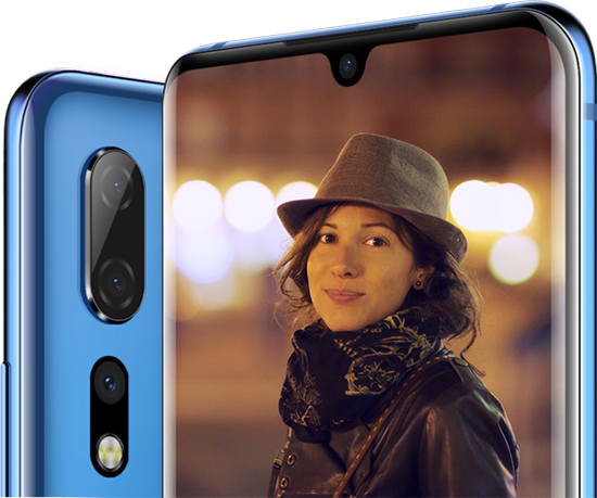 Triple Camera on the Back. A Beauty Woman's Photo on The ZTE Axon 10 Pro's Screen to Show Its High Performance Camera.