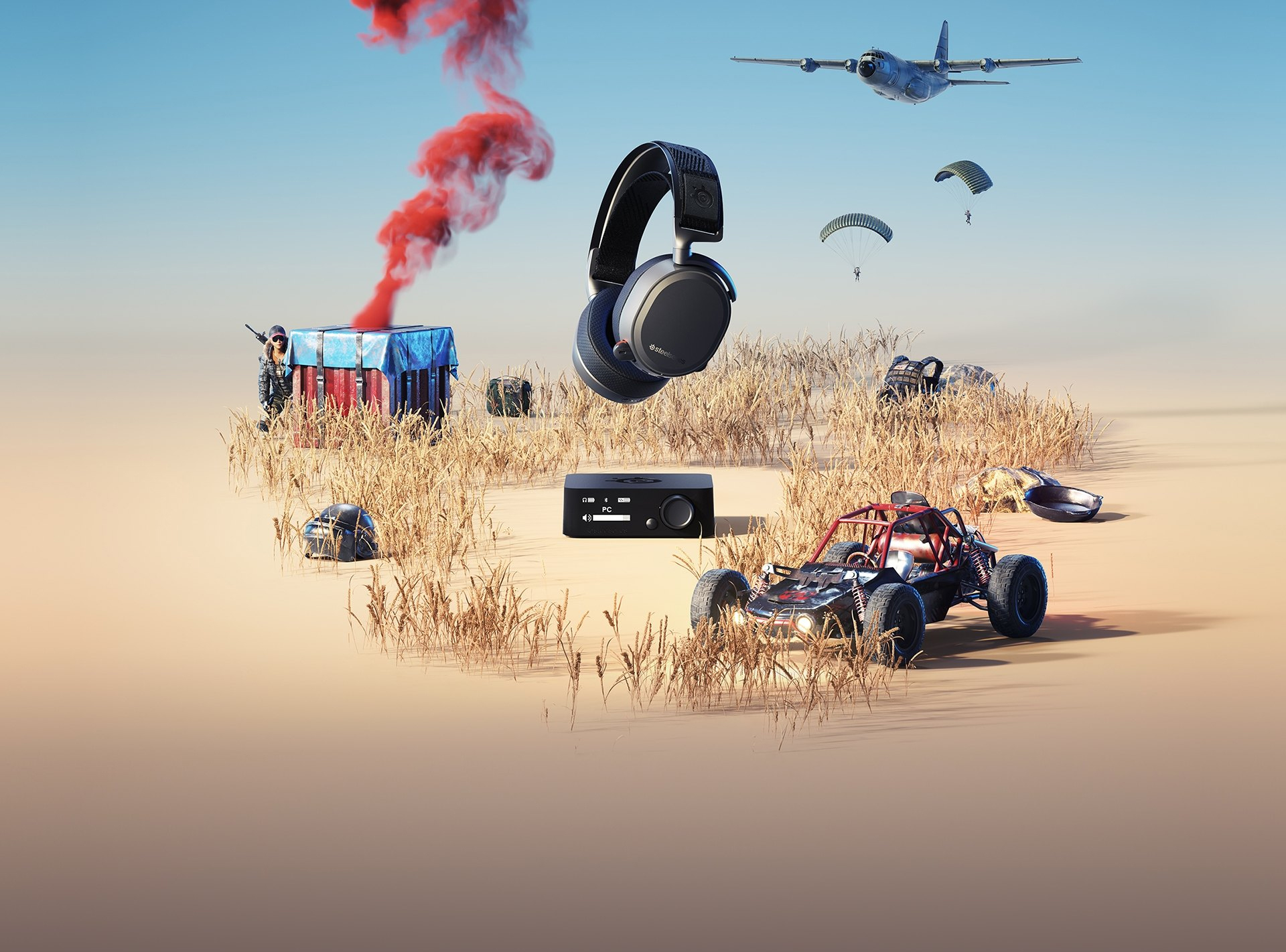 SteelSeries Acrtis Pro headset floating above its base station in a desert with the PlayerUnknown's Battleground desert with the level 3 helmet, frying pan, a player behind a supply drop, a four-wheel buggy and backpack. In the sky the plane flys to the left with two players parachuting down