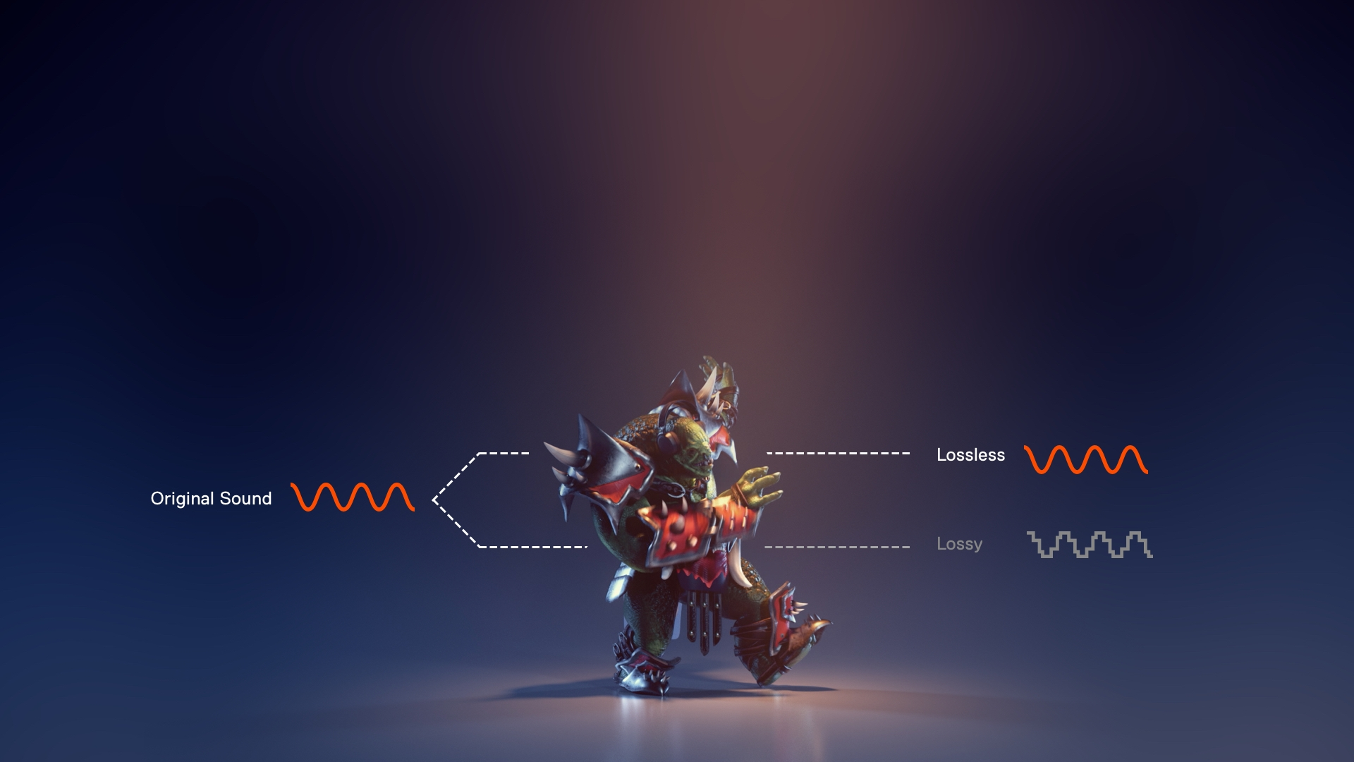 An orc warrior covered in armor walking to the right next to graphics and text that show original sound moving to lossless as opposed to lossy sound quality
