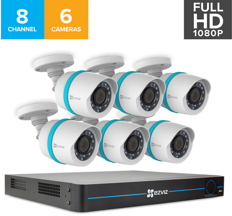 EZVIZ 8 Channel HD 1080p PoE IP NVR Security System w/ 2TB HDD and 6  Weatherproof 1080p PoE Bullet IP Cameras, Works with Alexa and Google Home  Using