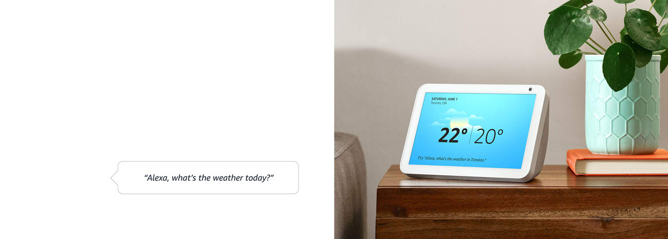 Echo Show 8 showing weather info