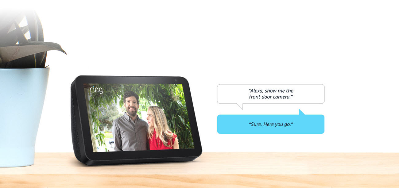 Echo Show 8 showing a photo of a man and a woman