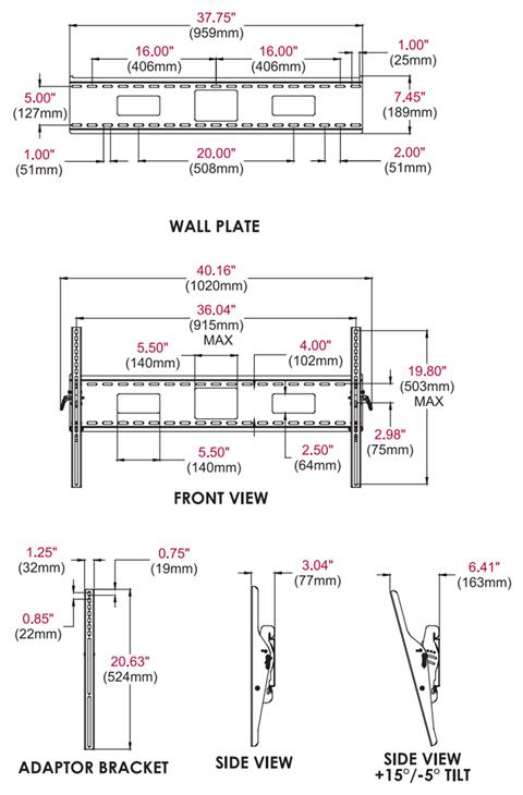 Peerless Accessory St670p Tilt Wall Mount 250lb Standard