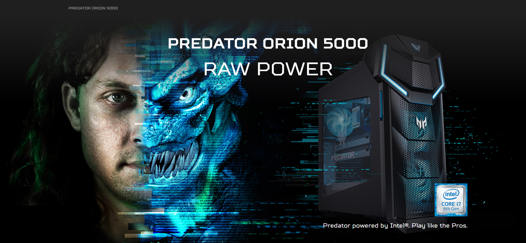 Predator Orion 5000 banner showing the face of a half-man half predator creature next to the desktop PC standing, facing to the right