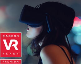 A female wearing a VR headset, next to it on the left is a logo of Radeon VR Ready Premium