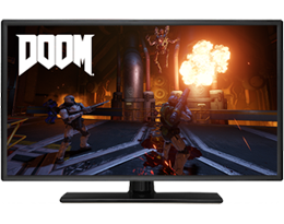 Front view of a monitor, with screen showing game scene of Doom