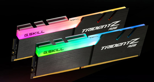 Two TridentZ RGB DDR4 Memory modules with one illuminating blue light and the other illuminating pink light.