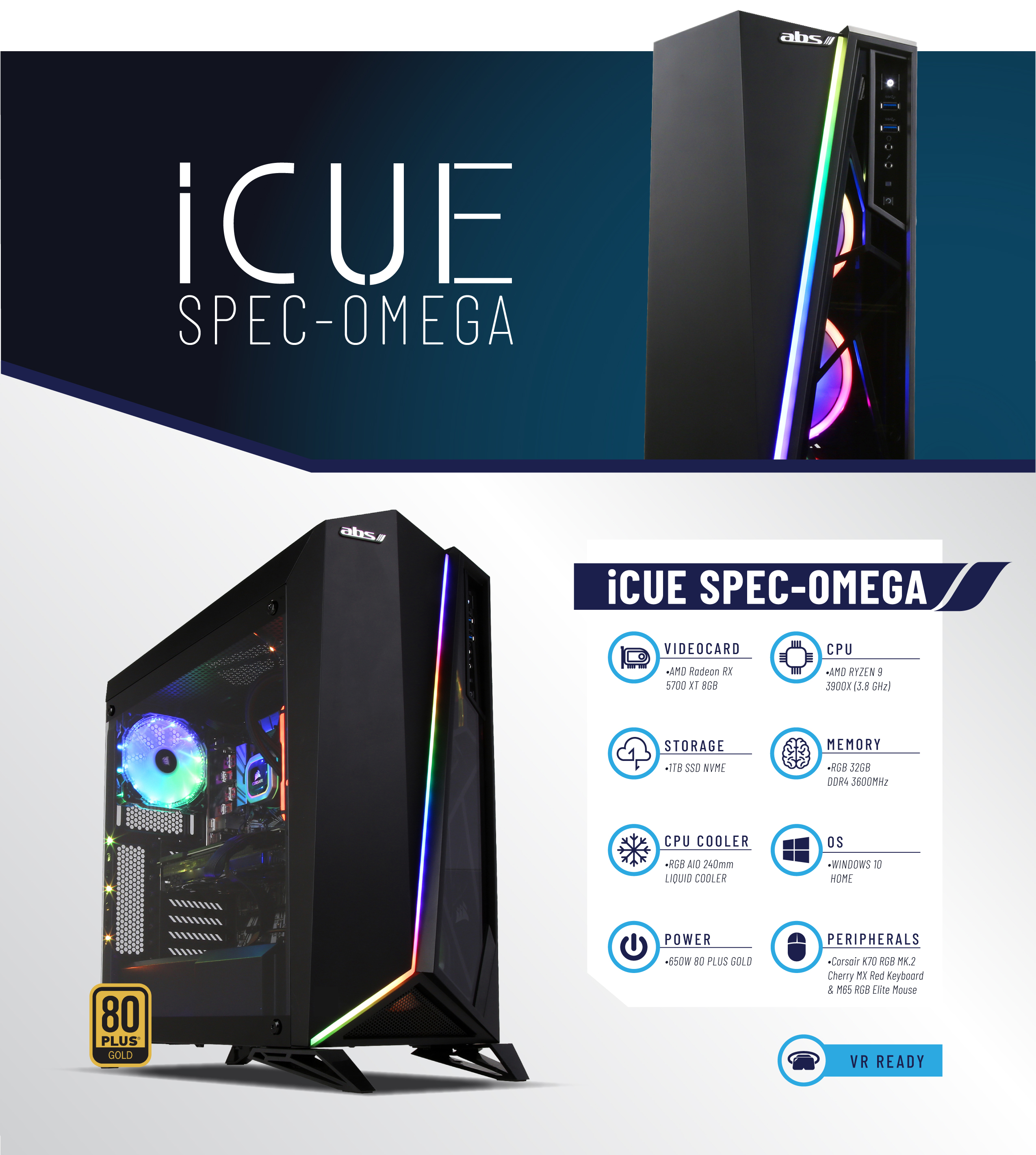 ABS iCue Spec-Omega - RYZEN 9 3900X - Radeon RX 5700 XT - 32GB DDR4 3600MHz  - 1TB NVMe SSD - Liquid Cooling (240mm) - Gaming Desktop PC - Newegg com