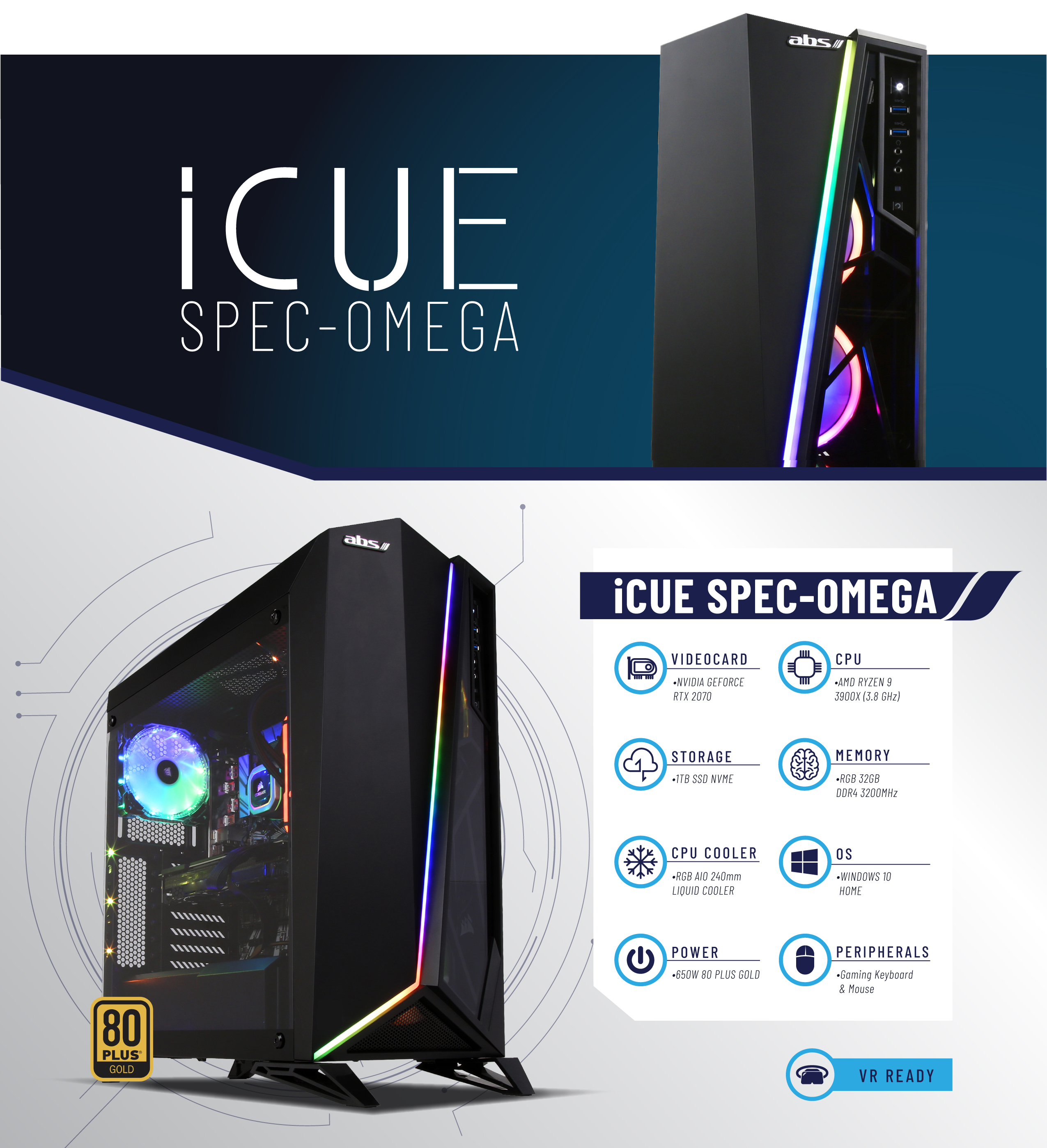 ABS iCue Spec-Omega - RYZEN 9 3900X - GeForce RTX 2070 - 16GB DDR4 3200MHz  - 1TB NVMe SSD - Liquid Cooling (240mm) - Gaming Desktop PC - Newegg com