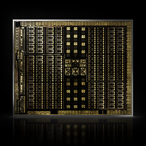 A closeup of NVIDIA Turing GPU