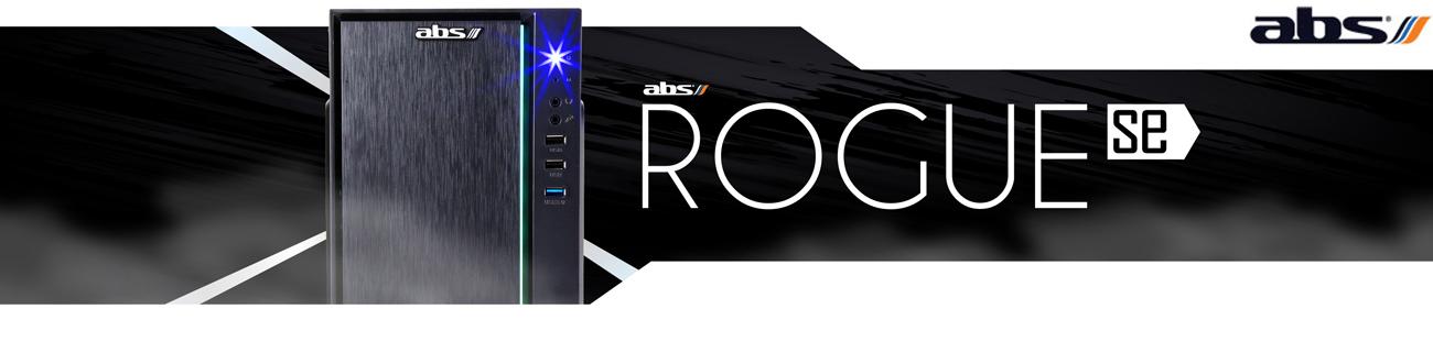 ABS Rogue SE Gaming Desktop PC facing forward and ABS logo
