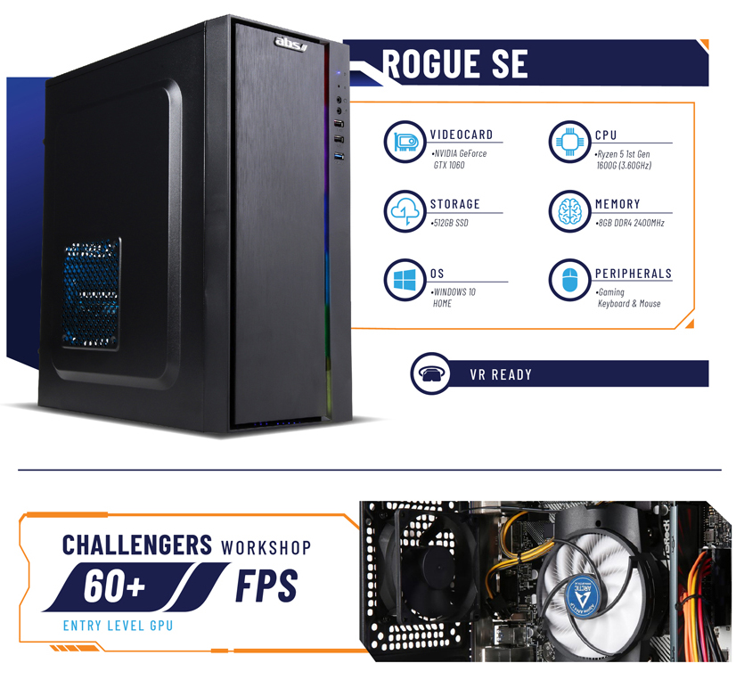 ABS Rogue SE Gaming Desktop PC side view and specifications