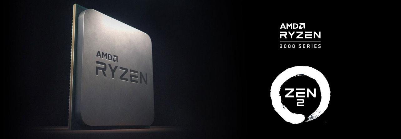 "At the left part of this image is the front angle view of an AMD Ryzen process in standing position. At the right is a Zen 2 logo and texts reading as ""AMD Ryzen 300 series"""