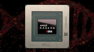Front view of AMD Radeon RDNA GPU in standing position, with a clipart of double helix structure of DNA in the background