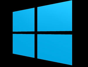 Blue Windows 10 logo in black background