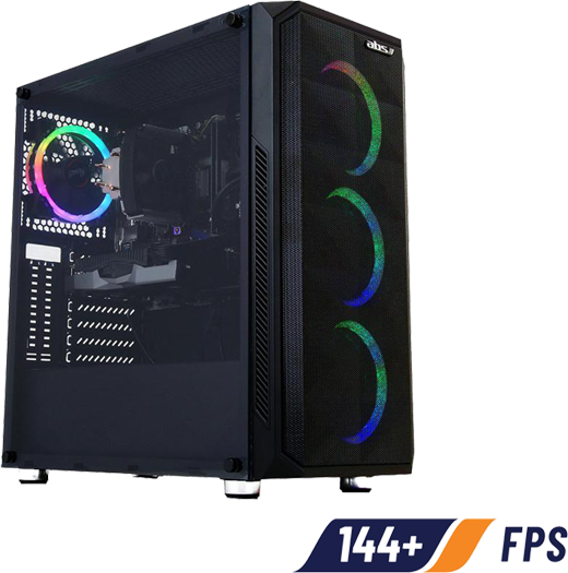 Front angle view of this gaming desktop, with three front fans and a rear fan illuminated with RGB lighting