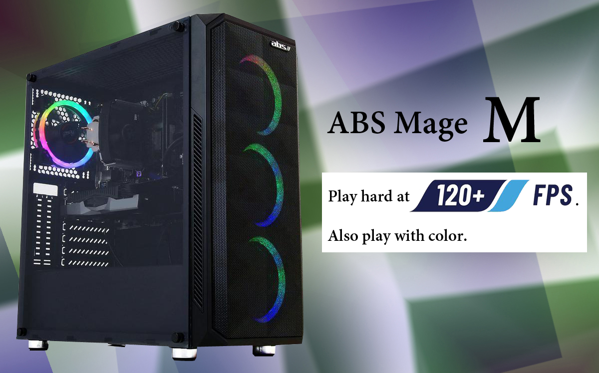ABS Mega M Gaming desktop is tilted to the right slightly to show the front mesh panel and the left side transprant window with four ARGB fasn ilumminating inside. The right are text reading ABS Mega M, play hard at 120+ FPS, and Also play with color.