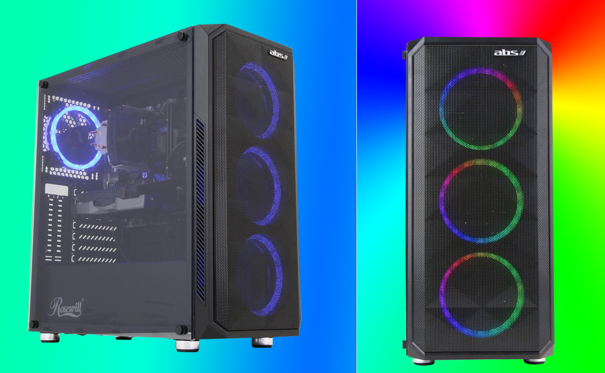 Two desktops with one having the front three ARGB fans emitting ARGB light and the other one with four ARGB fans inside emitting blue light.