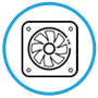 black fan icon in a blue circle