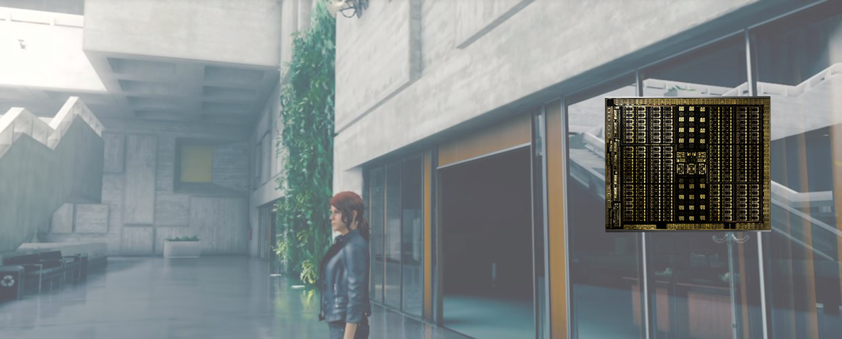 A blurry VR scene in the backround shows a woman standing near the entrance of a building. On the foreground is a GPU chip.