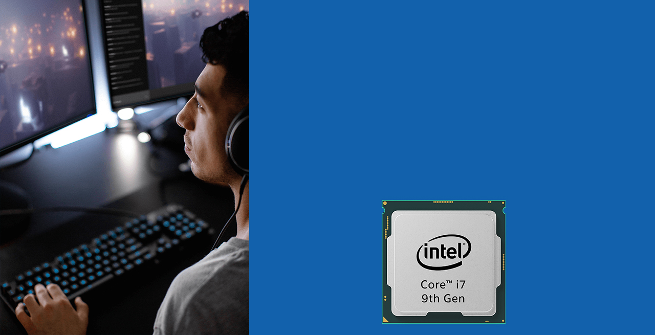 Intel Core i7 9th Gen 9700K processor is displayed and a man is using an intel processor powered desktop