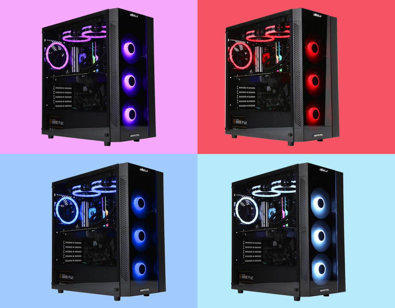 Four desktops with one showing light purple light, one showing light red light, one showing light blue light, and very light bue hue.