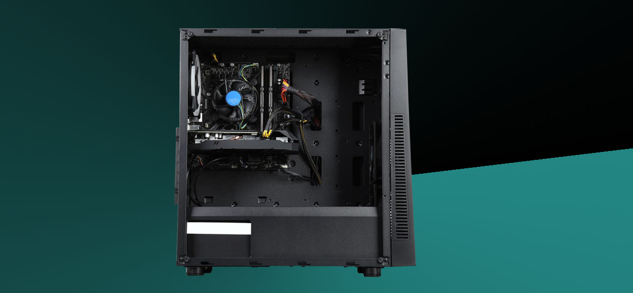 A desktop with side panel removed shows its internal components.