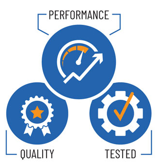 PERFORMANCE and QUALITY and TESTED icon