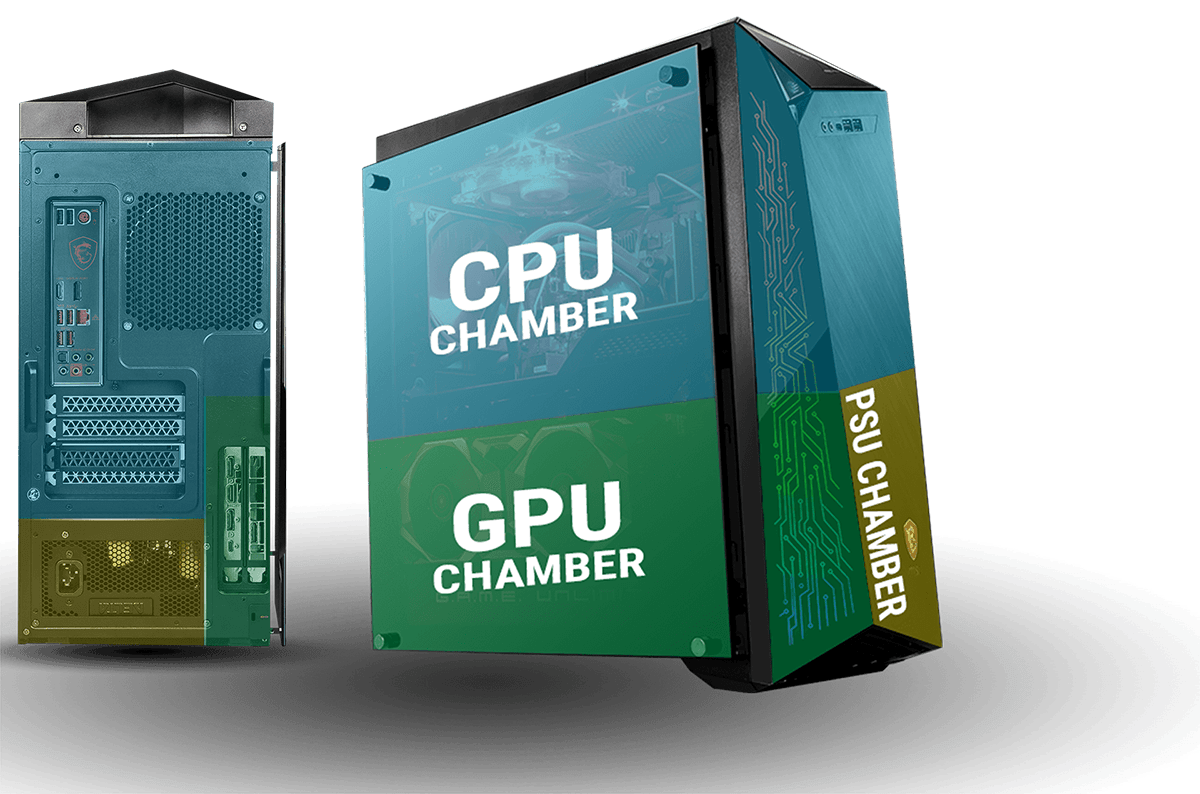 Graphics showing the CPU Chamber, GPU Chamber and PSU Chamber on the front, back and side of the PC case