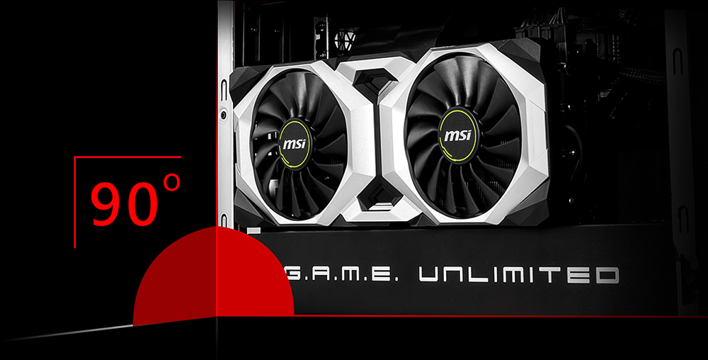 Closeup of the graphics card in the gaming case