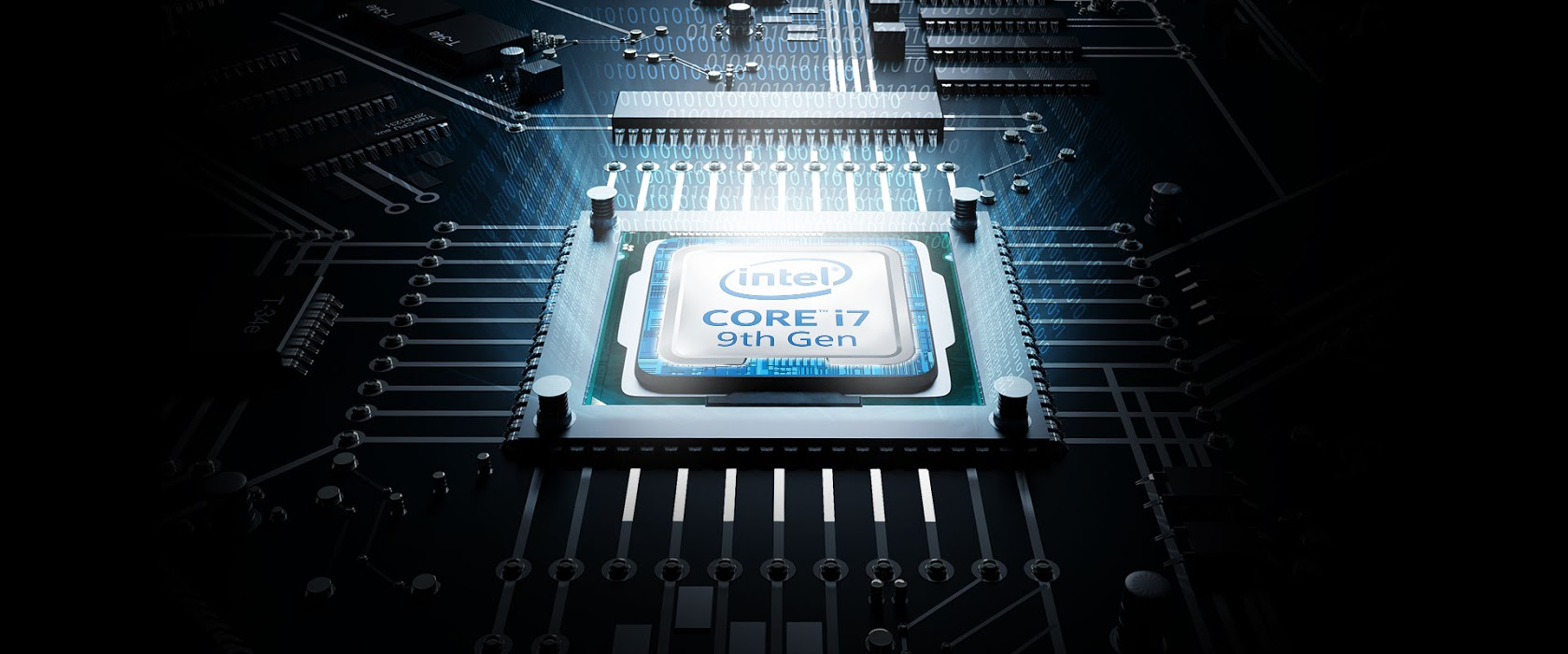 9th Gen Intel® Core™ i7 processors with the motherboard as background