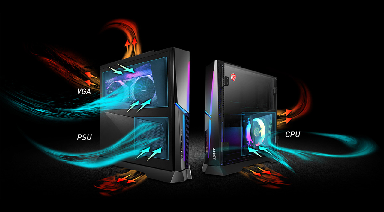 Trident X Plus CPU, VGA and PSU in different chambers with optimized airflow  show