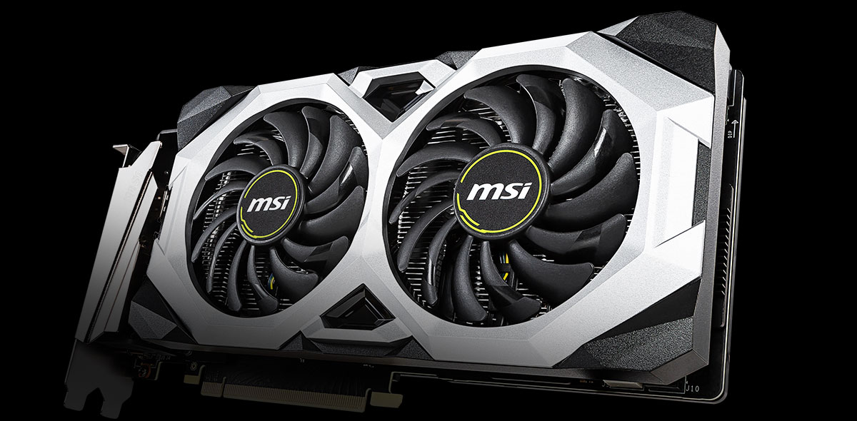 MSI graphics card angled to the left