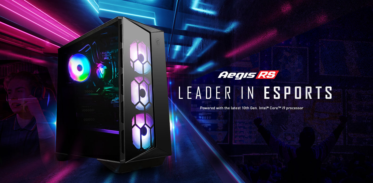 Hero Image: Aegis RS product image. The text right to it says: Aegis RS. LEADER IN ESPORTS. Powered with the lastest 10th Gen Intel Core i9 processor