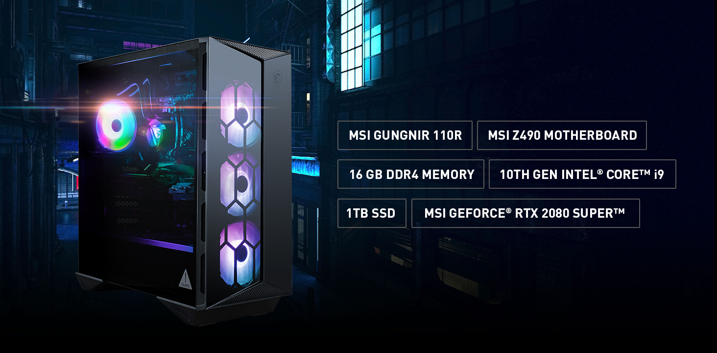 The main specification of Aegis R: MSI Gungnir 100R Gaming Case, Z490 Motherboard, 16GB DDR4, 10th Gen Intel Core i9, 1TB SSD, RTX 2080 Super graphics.