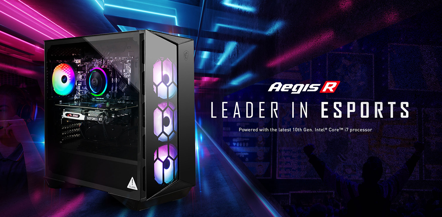Hero Image: Aegis R product image. The text right to it says: Aegis R. LEADER IN ESPORTS. Powered with the lastest 10th Gen Intel Core i9 processor