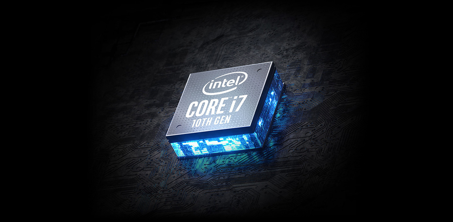 A large logo of Intel Core i9 10th Gen in the center