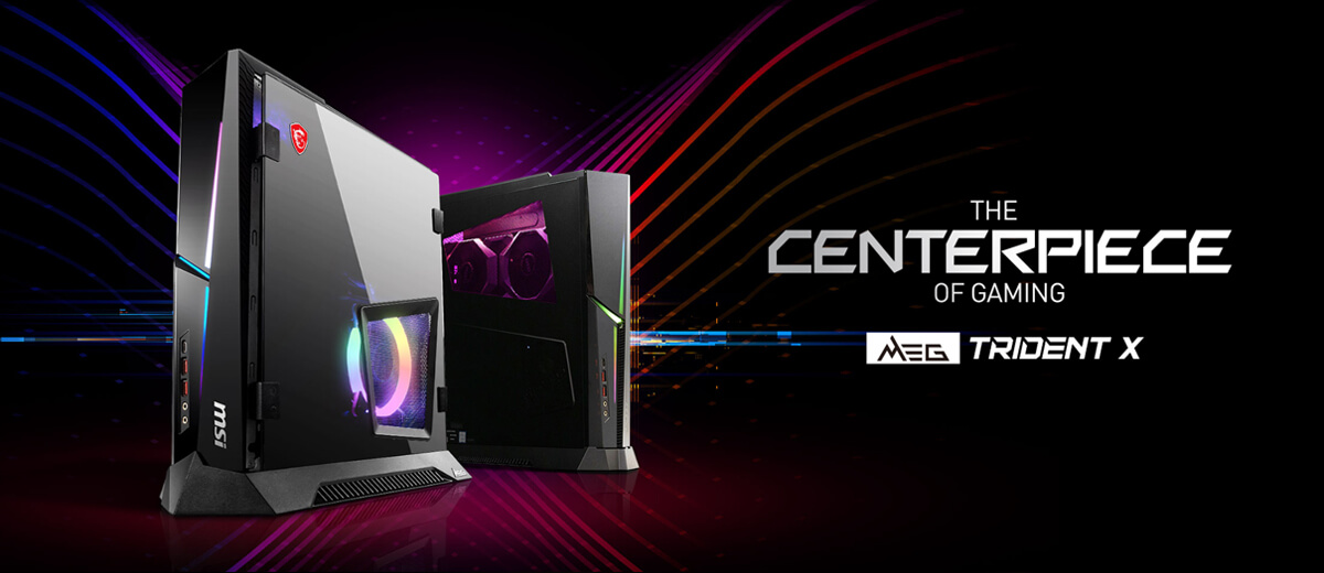 Hero Image: TRIDENT X product image. The text right to it says: THE CENTERPIECE OF GAMING. TRIDENT X.