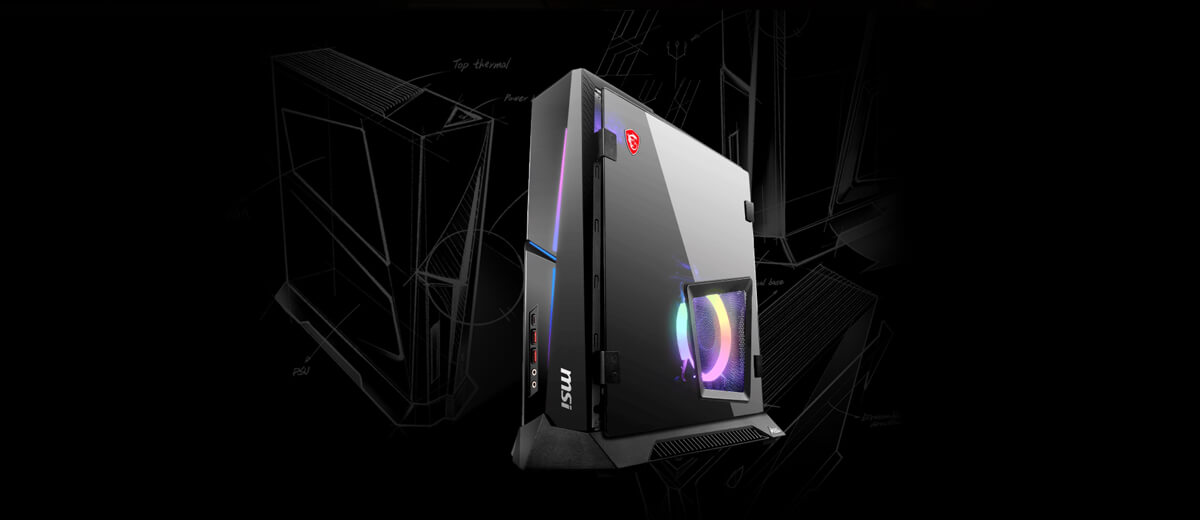 The product image of the compact gaming desktop.