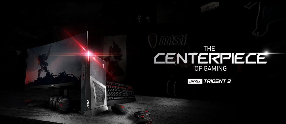 Hero Image: TRIDENT 3 product image with Peripheral. The text right to it says: THE CENTERPIECE OF GAMING. TRIDENT 3.